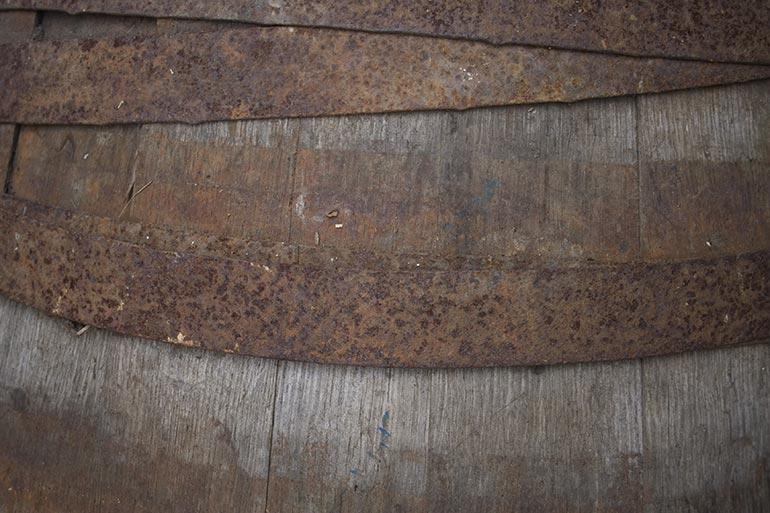 Wood barrel closeup texture
