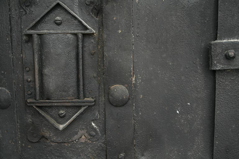 Old black metal door closeup free texture