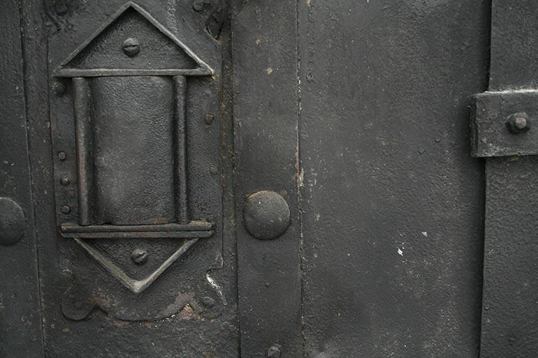 Old black metal door closeup free texture