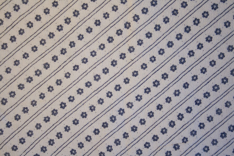 Blue flower patterns on textile