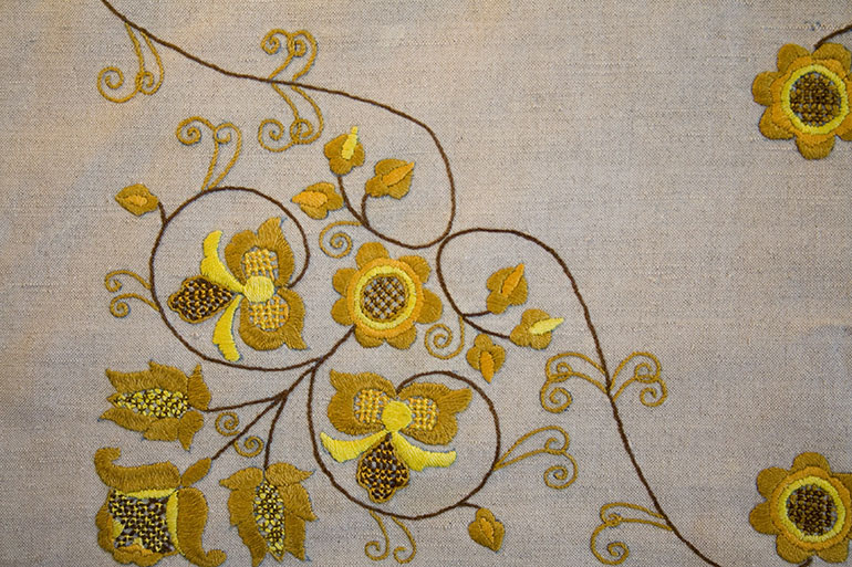 Download – Yellow flowers on textile