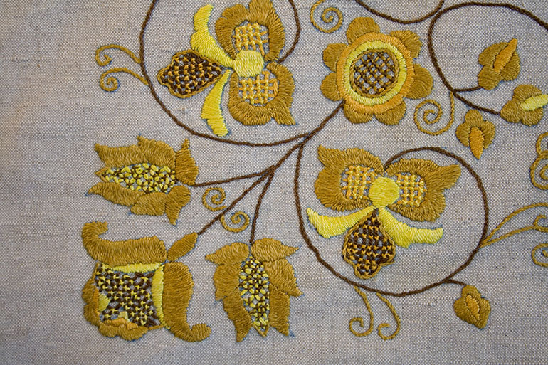 Textile texture with yellow flowers