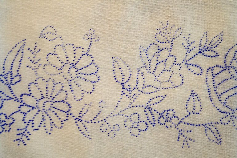 Linen texture with flower pattern free download