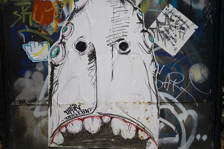 Grunge, wall design with face