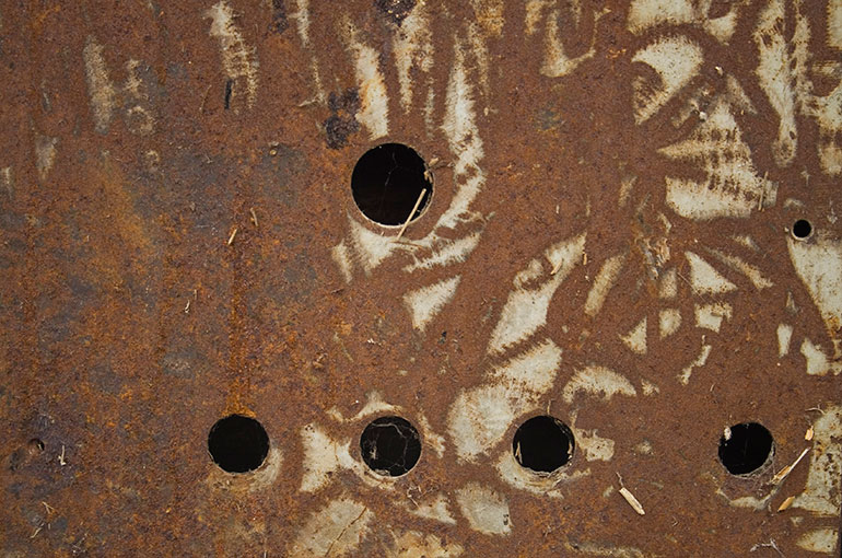 Brown metal texture with circle hole