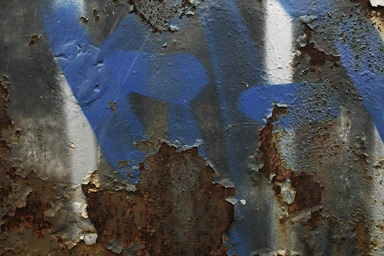 Grunge, rusty painted metal