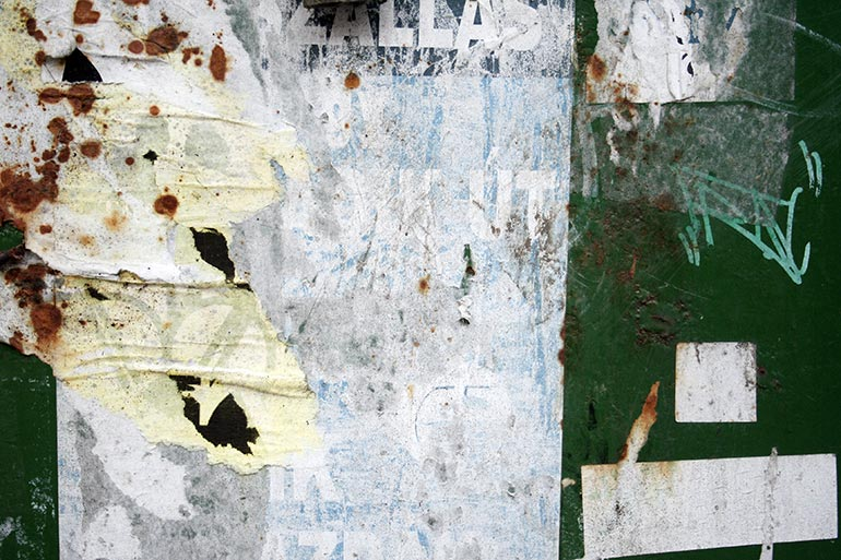 Grunge wall with paper metal and rust