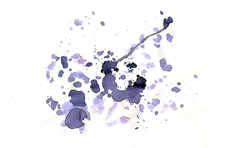 Ink Drops in a white paper