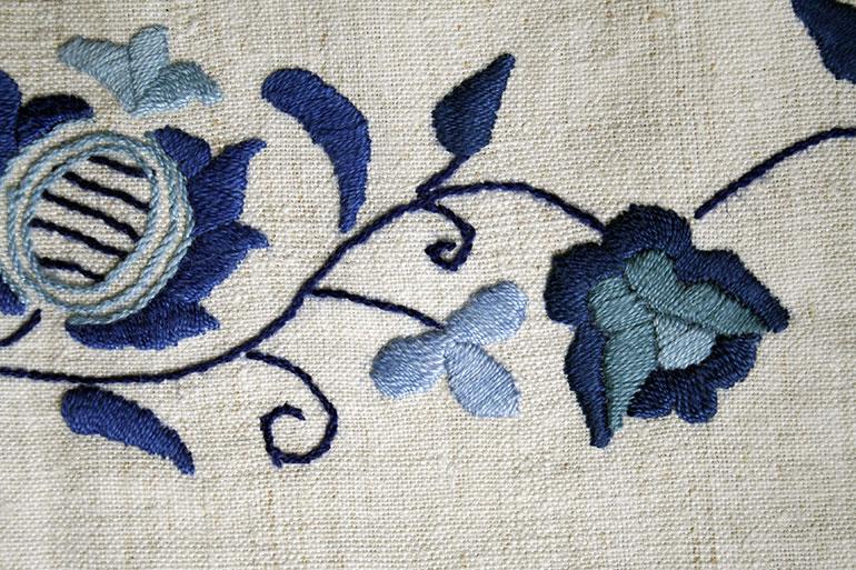 Blue flower textile texture