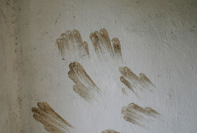 Wall texture, with muddy Handprints