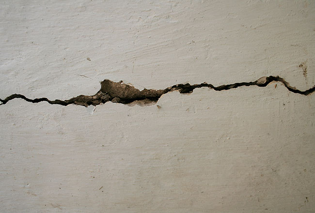 White wall with crack